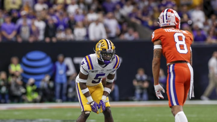 Safety Kary Vincent Jr. #5 of the LSU Tigers defends Wide Receiver Justyn Ross #8 of the Clemson Tigers (Photo by Don Juan Moore/Getty Images)