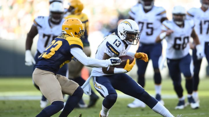 GREEN BAY, WI - OCTOBER 18: Keenan Allen #13 of the San Diego Chargers carries the football against Damarious Randall #23 of the Green Bay Packers in the second quarter at Lambeau Field on October 18, 2015 in Green Bay, Wisconsin. (Photo by Stacy Revere/Getty Images)