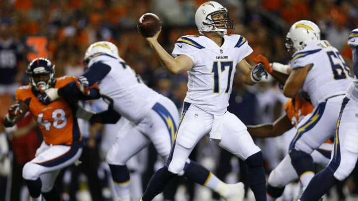 DENVER, CO – SEPTEMBER 11: Quarterback Philip Rivers #17 of the Los Angeles Chargers throws in the first quarter of the game against the Denver Broncos at Sports Authority Field at Mile High on September 11, 2017, in Denver, Colorado. (Photo by Justin Edmonds/Getty Images)