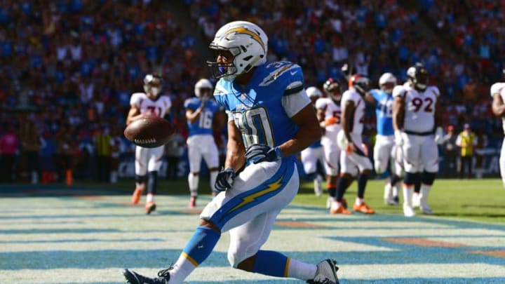 CARSON, CA - OCTOBER 22: Austin Ekeler #30 of the Los Angeles Chargers reacts after scoring a touchdown making a 14-0 lead during the game against the Denver Broncos at the StubHub Center on October 22, 2017 in Carson, California. (Photo by Harry How/Getty Images)