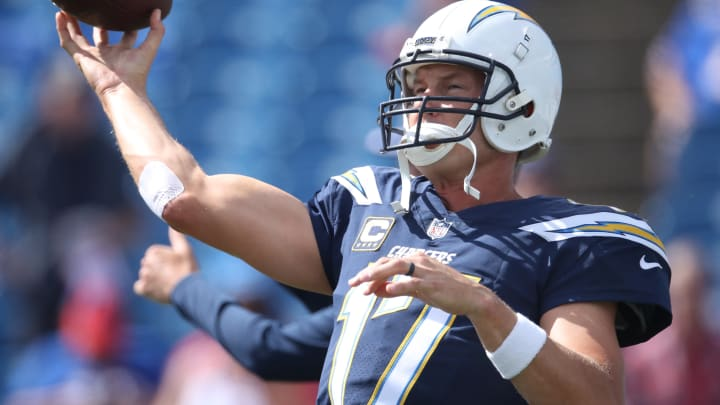BUFFALO, NY – SEPTEMBER 16: Philip Rivers #17 of the Los Angeles Chargers warms up before the start of NFL game action against the Buffalo Bills at New Era Field on September 16, 2018 in Buffalo, New York. (Photo by Tom Szczerbowski/Getty Images)