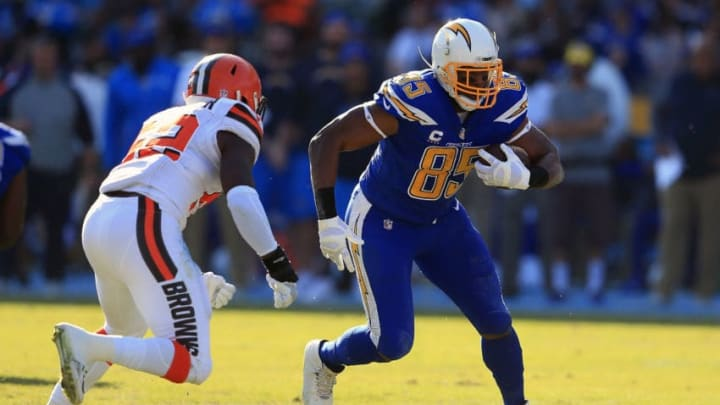 CARSON, CA - DECEMBER 03: Antonio Gates #85 of the Los Angeles Chargers runs the ball down field during the game against the Cleveland Browns at StubHub Center on December 3, 2017 in Carson, California. (Photo by Sean M. Haffey/Getty Images)