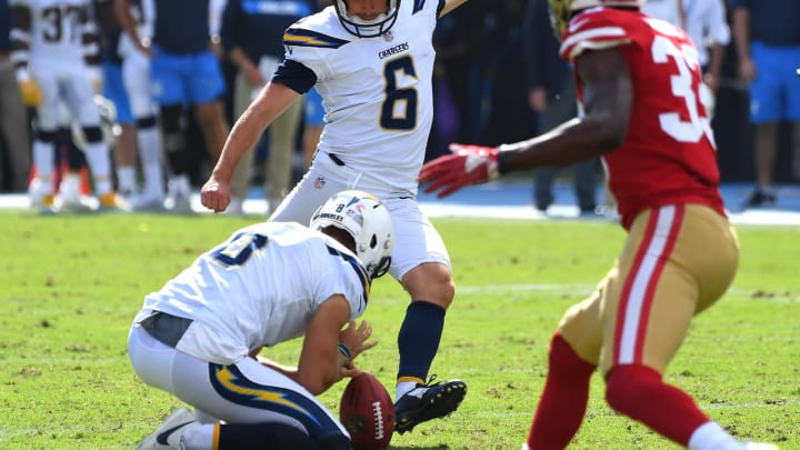 CARSON, CA – SEPTEMBER 30: Kicker Caleb Sturgis #6 of the Los Angeles Chargers hits a field goal to tie the score in the second quarter of the game against the San Francisco 49ers at StubHub Center on September 30, 2018 in Carson, California. (Photo by Jayne Kamin-Oncea/Getty Images)