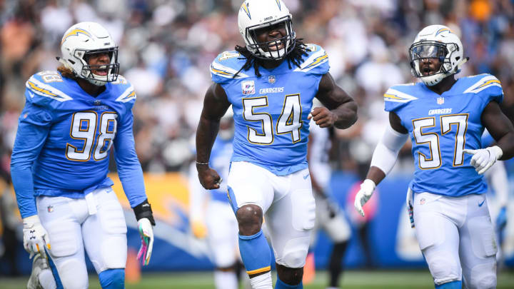 Los Angeles Chargers defensive end Melvin Ingram is fresh off a strong regular season, where he had seven sacks and 43 tackles. This photo was taken on Oct. 7, 2018. (Photo by Harry How/Getty Images)