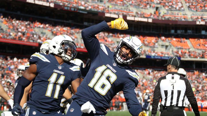 CLEVELAND, OH – OCTOBER 14: Tyrell Williams #16 of the Los Angeles Chargers celebrates a touchdown in the second quarter against the Cleveland Browns at FirstEnergy Stadium on October 14, 2018 in Cleveland, Ohio. (Photo by Gregory Shamus/Getty Images)