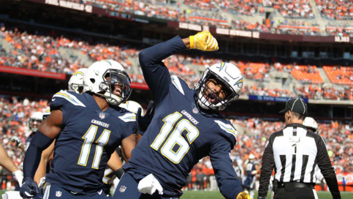 CLEVELAND, OH - OCTOBER 14: Tyrell Williams #16 of the Los Angeles Chargers celebrates a touchdown in the second quarter against the Cleveland Browns at FirstEnergy Stadium on October 14, 2018 in Cleveland, Ohio. (Photo by Gregory Shamus/Getty Images)