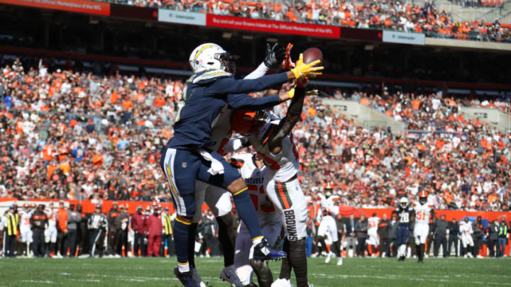 CLEVELAND, OH - OCTOBER 14: Tyrell Williams #16 of the Los Angeles Chargers makes a touch down catch in the second quarter against the Cleveland Browns at FirstEnergy Stadium on October 14, 2018 in Cleveland, Ohio. (Photo by Gregory Shamus/Getty Images)