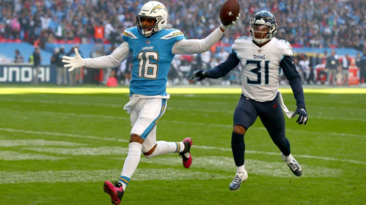 LONDON, ENGLAND - OCTOBER 21: Tyrell Williams of Los Angeles Chargers scores his sides first touchdown during the NFL International Series match between Tennessee Titans and Los Angeles Chargers at Wembley Stadium on October 21, 2018 in London, England. (Photo by Clive Rose/Getty Images)