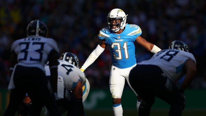 LONDON, ENGLAND – OCTOBER 21: Adrian Phillips of Los Angeles Chargers gives instruction to his team during the NFL International Series match between Tennessee Titans and Los Angeles Chargers at Wembley Stadium on October 21, 2018 in London, England. (Photo by Naomi Baker/Getty Images)