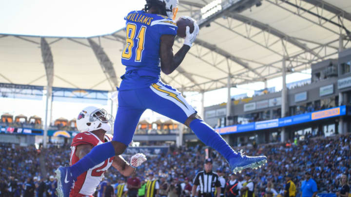 CARSON, CA - NOVEMBER 25: Wide receiver Mike Williams #81 of the Los Angeles Chargers makes a catch for a touchdown in front of cornerback Bene' Benwikere #23 of the Arizona Cardinals to trail 10-7 in the second quarter at StubHub Center on November 25, 2018 in Carson, California. (Photo by Harry How/Getty Images)