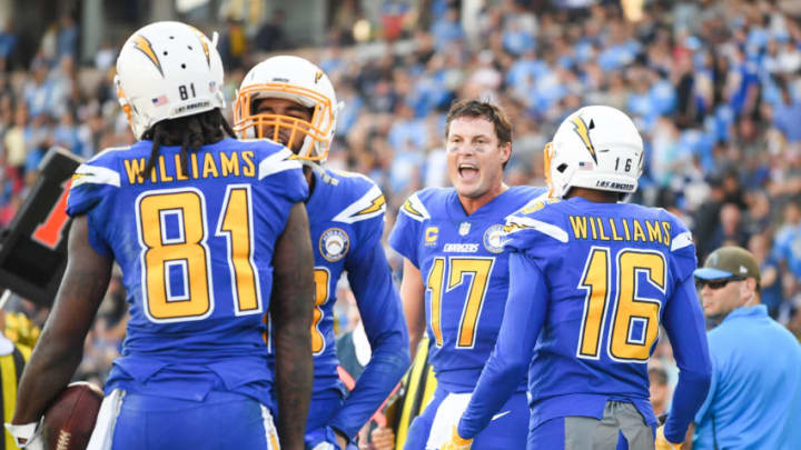 CARSON, CA - NOVEMBER 25: Quarterback Philip Rivers #17 of the Los Angeles Chargers reacts to the touchdown of wide receiver Mike Williams #81 to take a 28-10 lead in the second quarter at StubHub Center on November 25, 2018 in Carson, California. (Photo by Harry How/Getty Images)