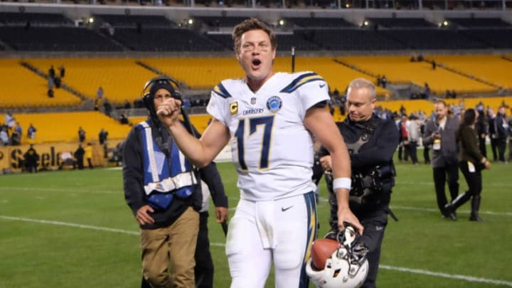 PITTSBURGH, PA - DECEMBER 02: Philip Rivers #17 of the Los Angeles Chargers reacts as he runs off the field following a 33-30 win over the Pittsburgh Steelers at Heinz Field on December 2, 2018 in Pittsburgh, Pennsylvania. (Photo by Justin Berl/Getty Images)