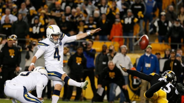 PITTSBURGH, PA - DECEMBER 02: Mike Badgley #4 of the Los Angeles Chargers kicks the game winning field goal with no time left on the clock in the fourth quarter during the game against the Pittsburgh Steelers at Heinz Field on December 2, 2018 in Pittsburgh, Pennsylvania. (Photo by Justin K. Aller/Getty Images)