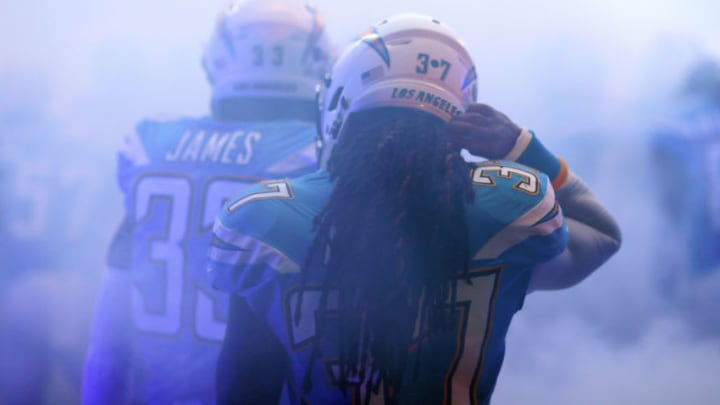 LONDON, ENGLAND - OCTOBER 21: Jahleel Addae of Los Angeles Chargers waits in the tunnel ahead of the NFL International Series match between Tennessee Titans and Los Angeles Chargers at Wembley Stadium on October 21, 2018 in London, England. (Photo by Naomi Baker/Getty Images)