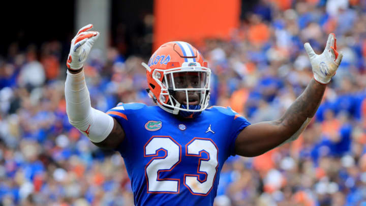 GAINESVILLE, FLORIDA - NOVEMBER 10: Chauncey Gardner-Johnson #23 of the Florida Gators asks the crowd for noise during the game against the South Carolina Gamecocks at Ben Hill Griffin Stadium on November 10, 2018 in Gainesville, Florida. (Photo by Sam Greenwood/Getty Images)