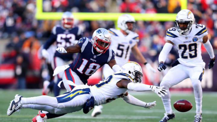 FOXBOROUGH, MASSACHUSETTS - JANUARY 13: Desmond King #20 of the Los Angeles Chargers attempts to catch a pass during the third quarter in the AFC Divisional Playoff Game against the New England Patriots at Gillette Stadium on January 13, 2019 in Foxborough, Massachusetts. (Photo by Maddie Meyer/Getty Images)