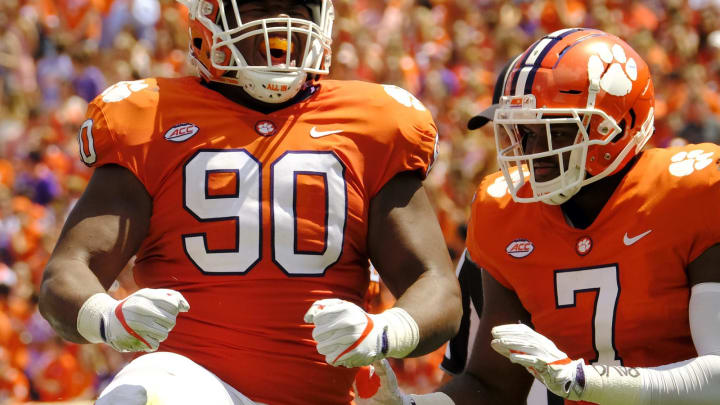 CLEMSON, SC – SEPTEMBER 2: Defensive tackle Dexter Lawrence #90 of the Clemson Tigers #90 celebrates a tackle against the Kent State Golden Flashes on September 2, 2017 at Memorial Stadium in Clemson, South Carolina. (Photo by Todd Bennett/Getty Images)