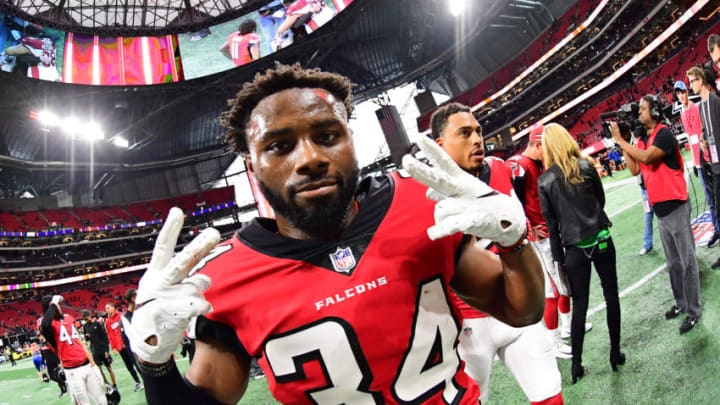 ATLANTA, GA - DECEMBER 16: Brian Poole #34 of the Atlanta Falcons celebrates after the game against the Arizona Cardinals at Mercedes-Benz Stadium on December 16, 2018 in Atlanta, Georgia. (Photo by Scott Cunningham/Getty Images)