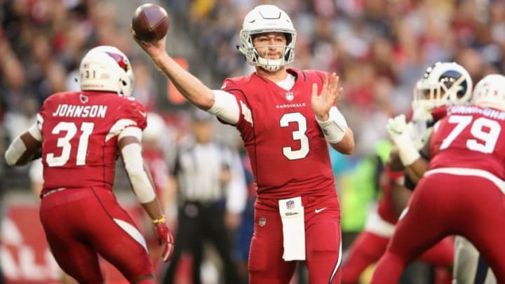 GLENDALE, ARIZONA - DECEMBER 23: Quarterback Josh Rosen #3 of the Arizona Cardinals drops back to pass during the NFL game against the Los Angeles Rams at State Farm Stadium on December 23, 2018 in Glendale, Arizona. The Rams defeated the Cardinals 31-9. (Photo by Christian Petersen/Getty Images)