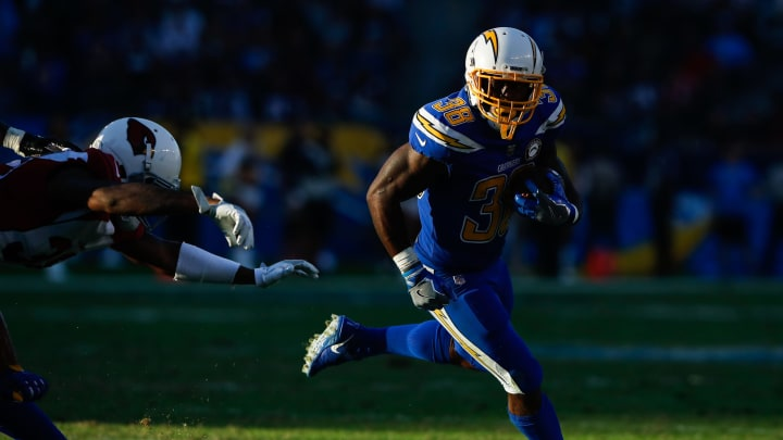 CARSON, CA – NOVEMBER 25: Running back Detrez Newsome #38 of the Los Angeles Chargers runs in front of defensive back David Amerson #38 of the Arizona Cardinals in the fourth quarter at StubHub Center on November 25, 2018, in Carson, California. (Photo by Sean M. Haffey/Getty Images)