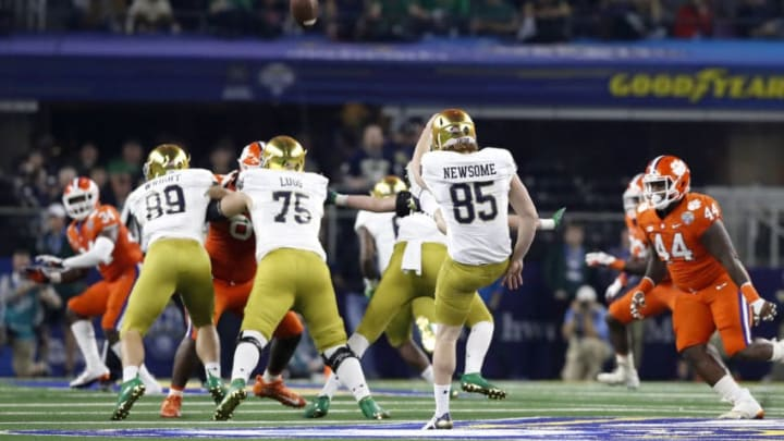 ARLINGTON, TEXAS - DECEMBER 29: Tyler Newsome #85 of the Notre Dame Fighting Irish punts in the third quarter against the Clemson Tigers during the College Football Playoff Semifinal Goodyear Cotton Bowl Classic at AT&T Stadium on December 29, 2018 in Arlington, Texas. (Photo by Tim Warner/Getty Images)