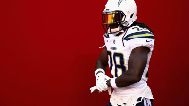 SANTA CLARA, CA - AUGUST 30: Melvin Gordon #28 of the Los Angeles Chargers takes the field for warm ups before their preseason game against the San Francisco 49ers at Levi's Stadium on August 30, 2018 in Santa Clara, California. (Photo by Ezra Shaw/Getty Images)