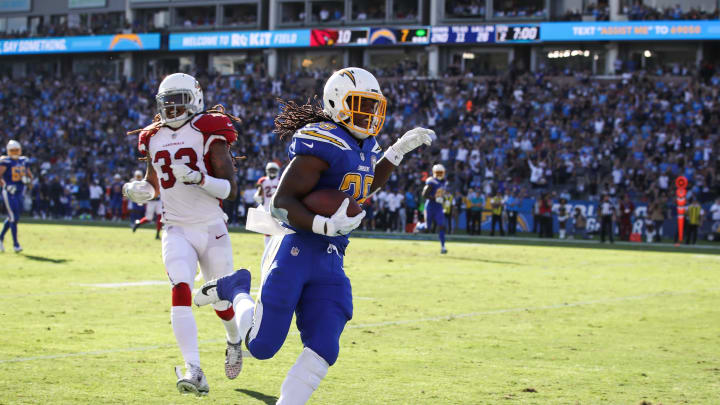 CARSON, CA – NOVEMBER 25: Running back Melvin Gordon #28 of the Los Angeles Chargers scores a touchdown in the second quarter against the Arizona Cardinals for a score of 20-10 at StubHub Center on November 25, 2018, in Carson, California. (Photo by Sean M. Haffey/Getty Images)