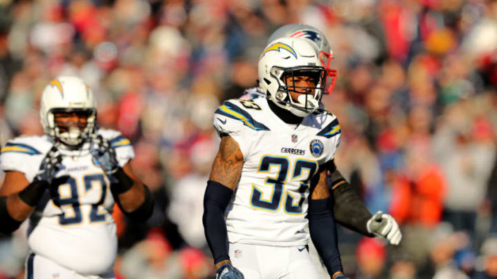 FOXBOROUGH, MASSACHUSETTS - JANUARY 13: Derwin James #33 of the Los Angeles Chargers reacts during the first quarter in the AFC Divisional Playoff Game against the New England Patriots at Gillette Stadium on January 13, 2019 in Foxborough, Massachusetts. (Photo by Elsa/Getty Images)