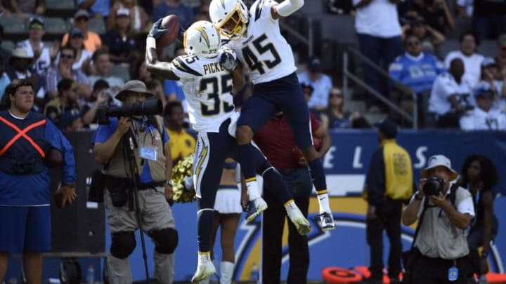 CARSON, CA - AUGUST 18: Adarius Pickett #35 of the Los Angeles Chargers celebrates after recovering a fumble with Bradford Lemmons #45 during the second half of their pre season football game against New Orleans Saints at Dignity Health Sports Park on August 18, 2019 in Carson, California. (Photo by Kevork Djansezian/Getty Images)