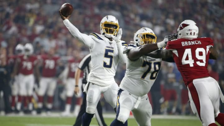 GLENDALE, ARIZONA - AUGUST 08: Quarterback Tyrod Taylor #5 of the Los Angeles Chargers throws a pass against the Arizona Cardinals during the first half of the NFL pre-season game at State Farm Stadium on August 08, 2019 in Glendale, Arizona. (Photo by Ralph Freso/Getty Images)