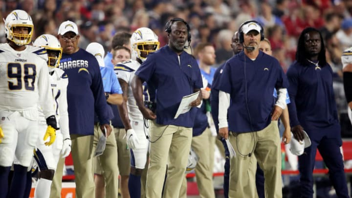 GLENDALE, ARIZONA - AUGUST 08: Head coach Anthony Lynn of the Los Angeles Chargers stands on the sideline during a preseason game against the Arizona Cardinals at State Farm Stadium on August 08, 2019 in Glendale, Arizona. (Photo by Christian Petersen/Getty Images)