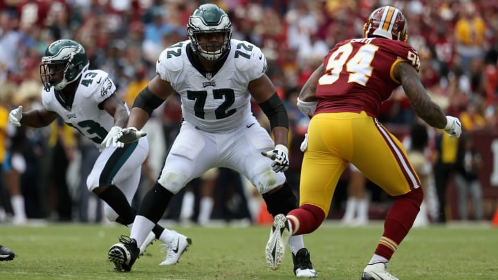 LANDOVER, MD – SEPTEMBER 10: Offensive tackle Halapoulivaati Vaitai #72 of the Philadelphia Eagles drops back to pass block on outside linebacker Preston Smith #94 of the Washington Redskins at FedExField on September 10, 2017 in Landover, Maryland. (Photo by Rob Carr/Getty Images)
