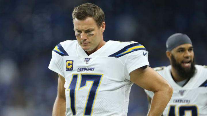 DETROIT, MI - SEPTEMBER 15: Philip Rivers #17 of the Los Angeles Chargers reacts prior to the start of the game against the Detroit Lions at Ford Field on September 15, 2019 in Detroit, Michigan. (Photo by Rey Del Rio/Getty Images)