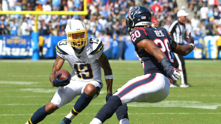 CARSON, CA - SEPTEMBER 22: Wide receiver Keenan Allen #13 of the Los Angeles Chargers cuts past strong safety Justin Reid #20 of the Houston Texans and runs for a touchdown in the second quarter at Dignity Health Sports Park on September 22, 2019 in Carson, California. (Photo by Jayne Kamin-Oncea/Getty Images)