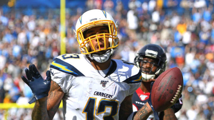CARSON, CA - SEPTEMBER 22: Wide receiver Keenan Allen #13 of the Los Angeles Chargers runs past cornerback Johnathan Joseph #24 of the Houston Texans and runs for a touchdown in the second quarter at Dignity Health Sports Park on September 22, 2019 in Carson, California. (Photo by Jayne Kamin-Oncea/Getty Images)