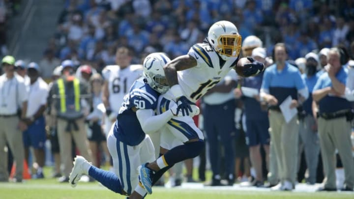 CARSON, CALIFORNIA - SEPTEMBER 08: Keenan Allen #13 of the Los Angeles Chargers is brought down by Anthony Walker #50 of the Indianapolis Colts in the first quarter at Dignity Health Sports Park on September 08, 2019 in Carson, California. (Photo by Jeff Gross/Getty Images)