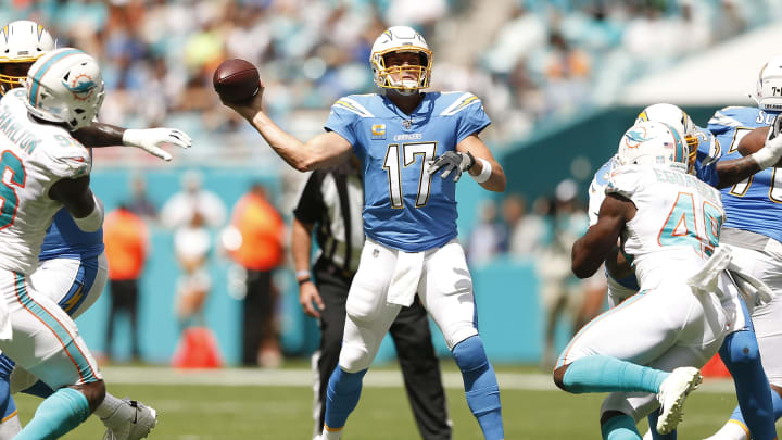 MIAMI, FLORIDA – SEPTEMBER 29: Philip Rivers #17 of the Los Angeles Chargers throws a pass against the Miami Dolphins during the first quarter at Hard Rock Stadium on September 29, 2019 in Miami, Florida. (Photo by Michael Reaves/Getty Images)