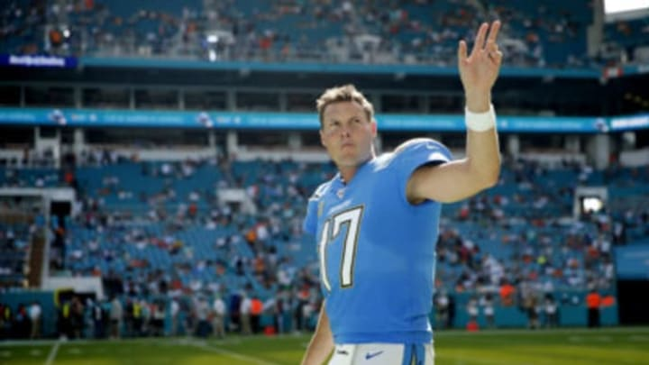 MIAMI, FLORIDA – SEPTEMBER 29: Philip Rivers #17 of the Los Angeles Chargers waves to the crowd against the Miami Dolphins during the fourth quarter at Hard Rock Stadium on September 29, 2019 in Miami, Florida. (Photo by Michael Reaves/Getty Images)