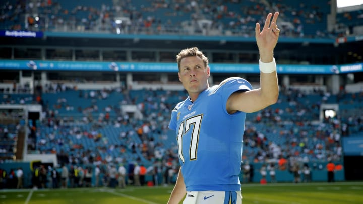 MIAMI, FLORIDA – SEPTEMBER 29: Philip Rivers #17 of the Los Angeles Chargers waves to the crowd against the Miami Dolphins during the fourth quarter at Hard Rock Stadium on September 29, 2019, in Miami, Florida. (Photo by Michael Reaves/Getty Images)
