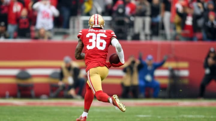 SANTA CLARA, CA - DECEMBER 24: Dontae Johnson #36 of the San Francisco 49ers returns an interception for a touchdown against the Jacksonville Jaguars during their NFL football game at Levi's Stadium on December 24, 2017 in Santa Clara, California. (Photo by Thearon W. Henderson/Getty Images)