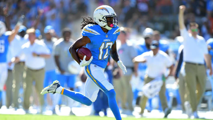 CARSON, CA – OCTOBER 22: Travis Benjamin #12 of the Los Angeles Chargers returns a punt for a touchdown to take a 7-0 lead over the Denver Broncos at StubHub Center on October 22, 2017 in Carson, California. (Photo by Harry How/Getty Images)