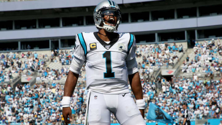 CHARLOTTE, NORTH CAROLINA - SEPTEMBER 08: Cam Newton #1 of the Carolina Panthers reacts after a Panthers touchdown during their game against the Los Angeles Rams at Bank of America Stadium on September 08, 2019 in Charlotte, North Carolina. (Photo by Streeter Lecka/Getty Images)