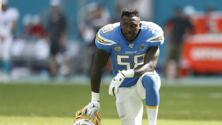 MIAMI, FLORIDA - SEPTEMBER 29: Thomas Davis #58 of the Los Angeles Chargers looks on against the Miami Dolphins during the fourth quarter at Hard Rock Stadium on September 29, 2019 in Miami, Florida. (Photo by Michael Reaves/Getty Images)