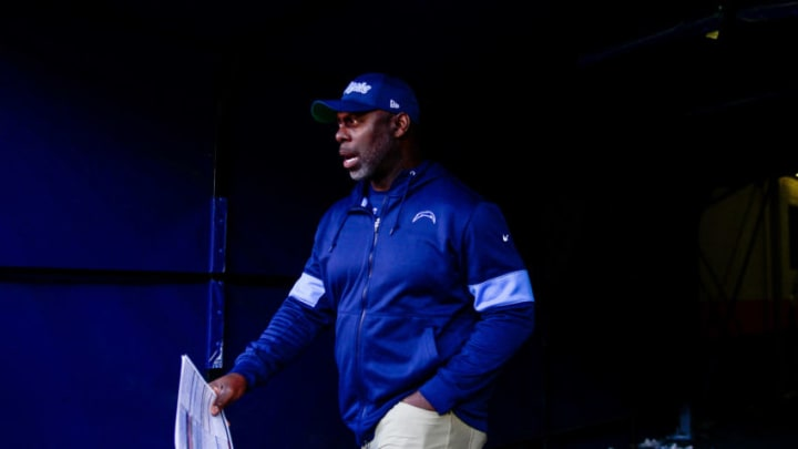DENVER, CO - DECEMBER 1: Head coach Anthony Lynn of the Los Angeles Chargers walks onto the field before a game against the Denver Broncos at Empower Field at Mile High on December 1, 2019 in Denver, Colorado. (Photo by Dustin Bradford/Getty Images)
