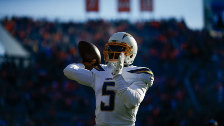 DENVER, CO - DECEMBER 01: Quarterback Tyrod Taylor #5 of the Los Angeles Chargers throws a pass before a game against the Denver Broncos at Empower Field at Mile High on December 1, 2019 in Denver, Colorado. The Broncos defeated the Chargers 23-20. (Photo by Justin Edmonds/Getty Images)