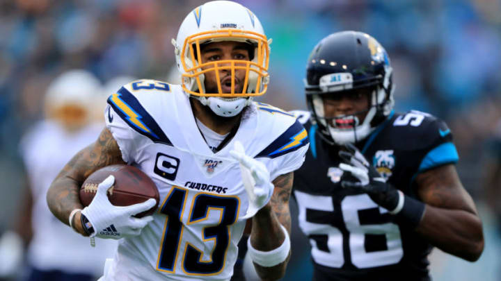 JACKSONVILLE, FLORIDA - DECEMBER 08: Keenan Allen #13 of the Los Angeles Chargers rushes for yardage during the game against the Jacksonville Jaguars at TIAA Bank Field on December 08, 2019 in Jacksonville, Florida. (Photo by Sam Greenwood/Getty Images)