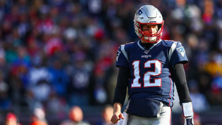 FOXBOROUGH, MA - DECEMBER 29: Tom Brady #12 of the New England Patriots look on during a game against the Miami Dolphins at Gillette Stadium on December 29, 2019 in Foxborough, Massachusetts. (Photo by Adam Glanzman/Getty Images)