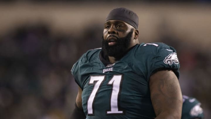 PHILADELPHIA, PA - JANUARY 05: Jason Peters #71 of the Philadelphia Eagles looks on during the NFC Wild Card game against the Seattle Seahawks at Lincoln Financial Field on January 5, 2020 in Philadelphia, Pennsylvania. (Photo by Mitchell Leff/Getty Images)