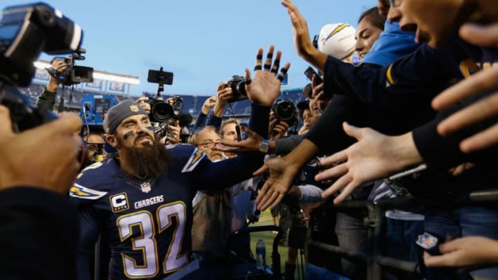 SAN DIEGO, CA - DECEMBER 20: Eric Weddle #32 of the San Diego Chargers greets fans after the San Diego Chargers defeated the Miami Dolphins 30-14 at Qualcomm Stadium on December 20, 2015 in San Diego, California. (Photo by Sean M. Haffey/Getty Images)