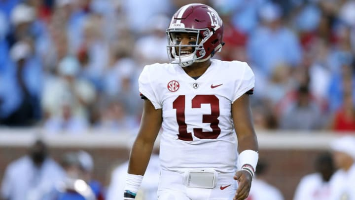 OXFORD, MS - SEPTEMBER 15: Tua Tagovailoa #13 of the Alabama Crimson Tide reacts during a game against the Mississippi Rebels at Vaught-Hemingway Stadium on September 15, 2018 in Oxford, Mississippi. (Photo by Jonathan Bachman/Getty Images)